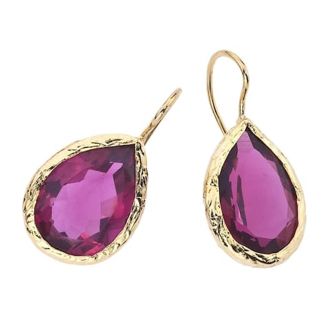 18k Goldplated Pink Quartz Earrings by Ever One - Rose