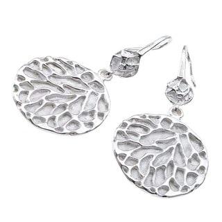 Women's Sterling Silver Solid Sea Fan Earrings by Ever One