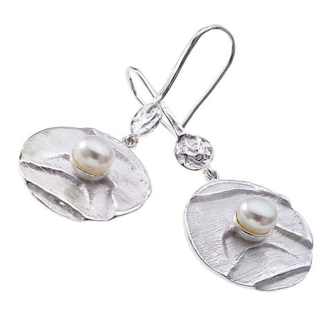 Sterling Silver White Pearl Drop Earrings by Ever One
