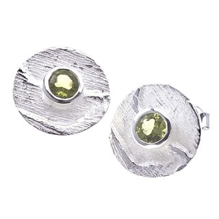 Sterling Silver and Green Peridot Stud Earrings by Ever One