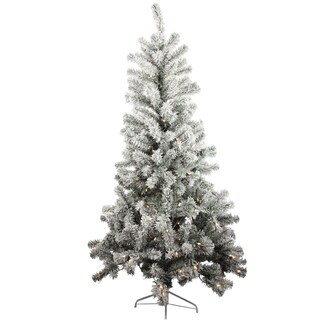 6-foot Pine Snow-flocked Artificial Christmas Tree with 150 Lights and 450 Tips