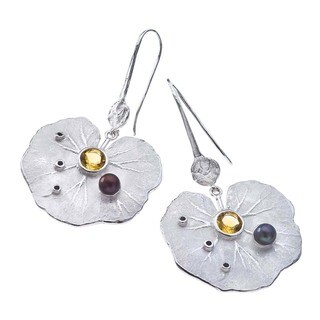 Sterling Silver Gemstone Lily Drop Earrings by Ever One