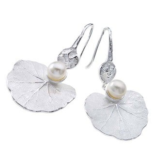 Ever One Large Sterling Silver and Pearl Lily Earrings