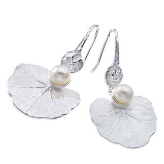 Large Sterling Silver and Pearl Lily Earrings by Ever One