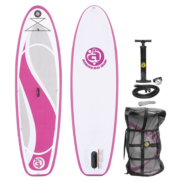 Airhead Bliss 930 White and Pink Inflatable Stand-up Paddleboard. Opens flyout.