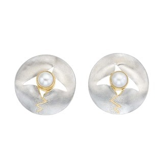 Ever One Chrysalis Collection Goldplated Silver Pearl and Mother of Pearl Earrings