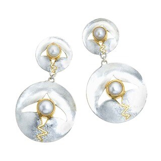 Pearl, Mother of Pearl Drop Earrings by Ever One