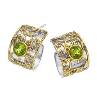 Ever One Women's Sterling Silver and Peridot Hoop Earrings