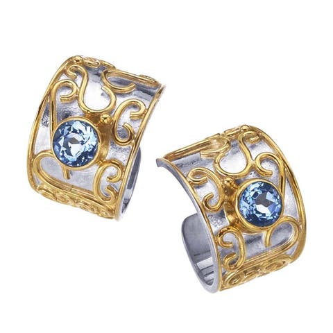 Sterling Silver and Blue Topaz Hoop Earrings by Ever One