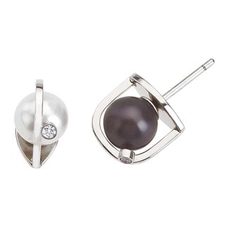 Ever One 18k White Gold Diamond Pearl Interchangeable Earrings
