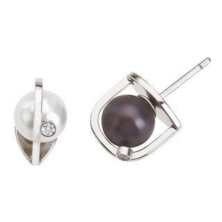 18k White Gold Diamond Pearl Interchangeable Earrings by Ever One