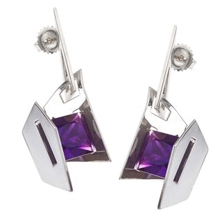 Sterling Silver Amethyst Stud Earrings by Ever One