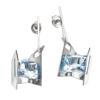 Sterling Silver Blue Topaz Earrings by Ever One