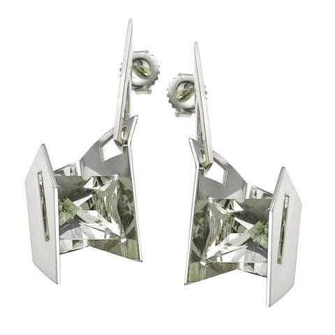 Sterling Silver Green Amethyst Earrings by Ever One