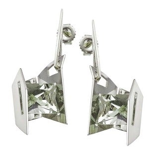 Sterling Silver Green Amethyst Earrings by Ever One