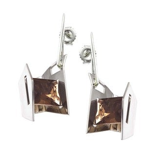 Sterling Silver Smoky Quartz Earrings by Ever One