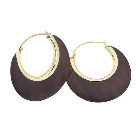 18k Vermeil Rosewood Crescent Earrings by Ever One - Brown