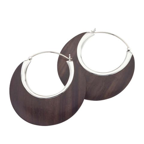 Sterling Silver and Rosewood Crescent Earrings by Ever One - Brown