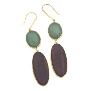 18k Yellow Gold Over Silver Vermeil Aventurine Earrings by Ever One