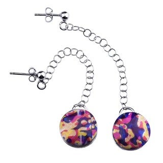 Tri-color Sterling Silver Digitally Printed Fade-resistant Drop Earrings by Ever One