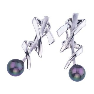 Ever One Sterling Silver and Black Pearl Earrings