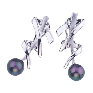 Sterling Silver and Black Pearl Earrings by Ever One