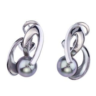 Sterling Silver Grey Pearl Earrings by Ever One
