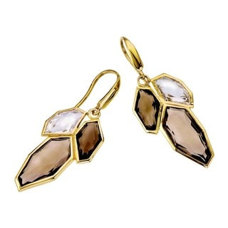 18k Yellow Gold over Silver Vermeil White and Smoky Quartz Earrings