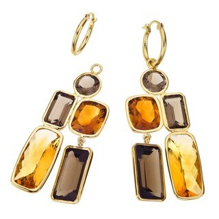 18k Vermeil, Smoky Quartz, and Citrine Drop Earrings by Ever One