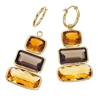 18k Vermeil Quartz and Citrine Earrings by Ever One