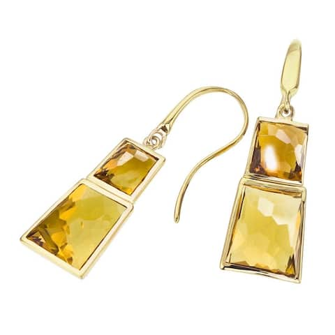 18k Vermeil Citrine and Honey Quartz Earrings by Ever One - Yellow