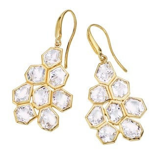 18k Goldplated Quartz Drop Earrings by Ever One