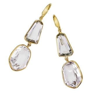 18k Vermeil, Quartz, and Amethyst Drop Earrings by Ever One
