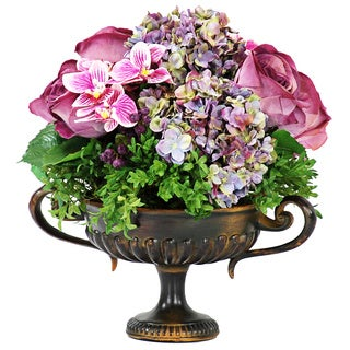 Jane Seymour Botanicals Mixed Floral Centerpiece in 16-inch Tall Metal Footed Urn