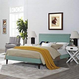 Jessamine Fabric Platform Bed with Squared Tapered Legs in Laguna