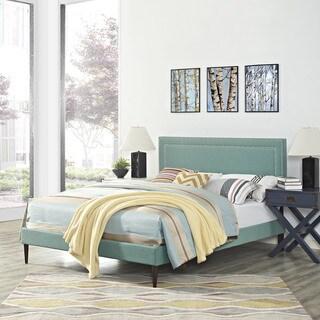 Jessamine Fabric Platform Bed with Round Tapered Legs in Laguna