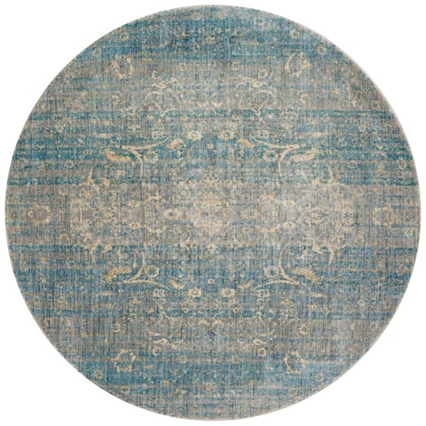 "Alexander Home Contessa Traditional Floral Scroll Distressed Rug - 5'3"" x 5'3"" Round"