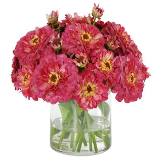 Jane Seymour Botanicals Zinnia Bouquet In 12-inch Tall Hot Pink Glass Cylinder Vase