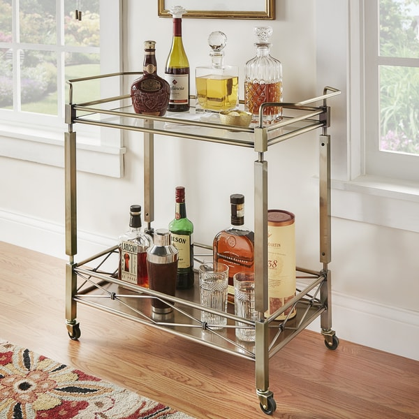 Metropolitan Antique Brass Metal Mobile Bar Cart with Glass Top by iNSPIRE Q Bold