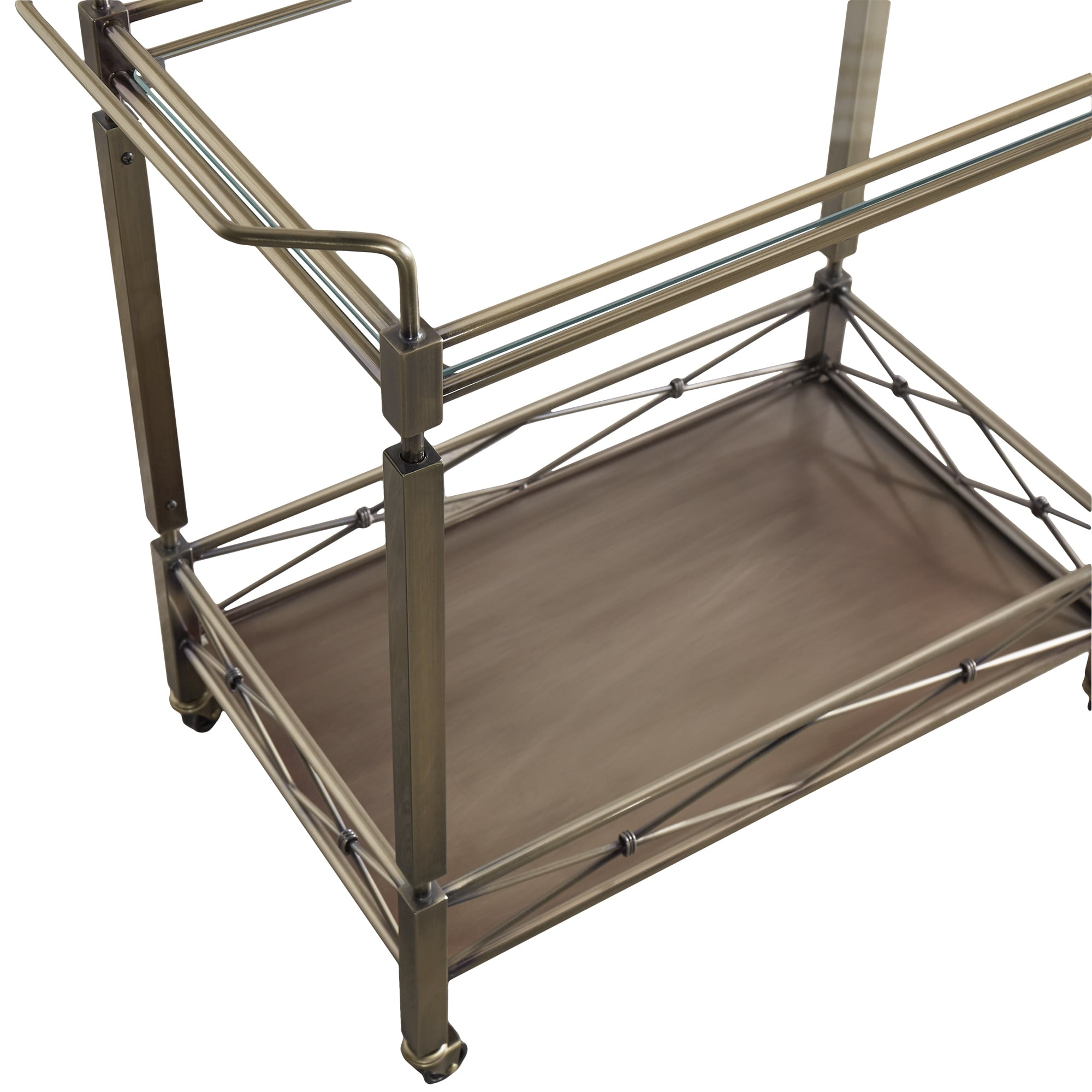 Metropolitan Antique Brass Metal Bar Cart With Glass Top By Inspire Q Bold On Sale Overstock 13057092