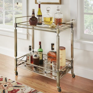 INSPIRE Q Metropolitan Antique Brass Metal Mobile Bar Cart with Glass Top