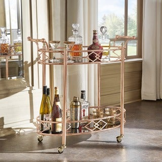 Link to Metropolitan Rose Gold Metal Black Glass Bar Cart by iNSPIRE Q Bold Similar Items in Home Bars