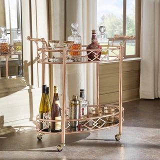 INSPIRE Q Metropolitan Rose Gold Metal Mobile Bar Cart with Black Glass Top