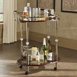 INSPIRE Q Metropolitan Brown Gold Metal Mobile Bar Cart with Glass Top