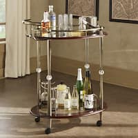 Metropolitan Brown Gold Metal Mobile Bar Cart with Glass Top by iNSPIRE Q Bold