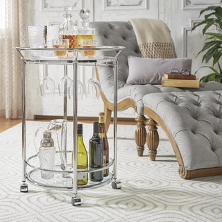 INSPIRE Q Metropolitan Round Chrome Metal Mobile Bar Cart with Glass Top