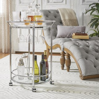Metropolitan Round Chrome Metal Mobile Bar Cart with Glass Top by iNSPIRE Q Bold