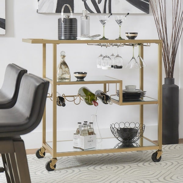 Metropolitan Gold Metal Mobile Bar Cart With Mirror Gl Top By Inspire Q Bold