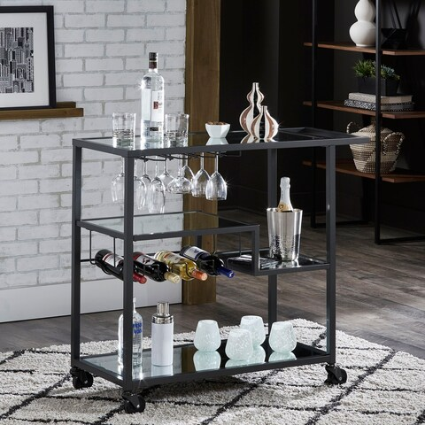 Metropolitan Gold Metal Mobile Bar Cart with Mirror Glass Top by iNSPIRE Q Bold