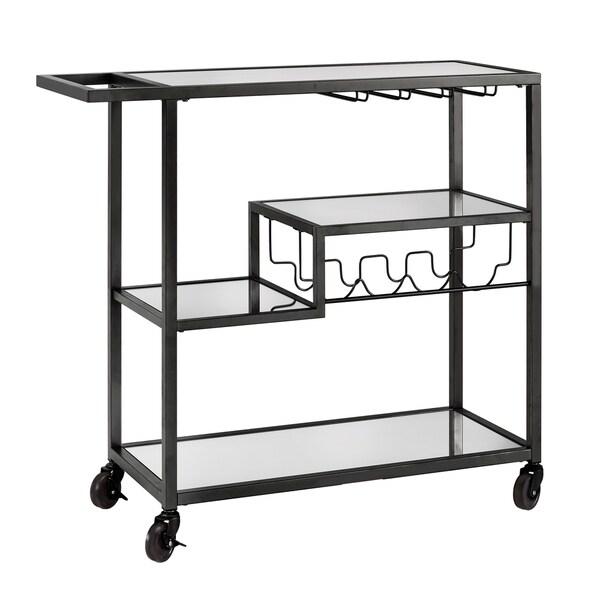 INSPIRE Q Metropolitan Rose Gold Metal Mobile Bar Cart with Black Glass Top